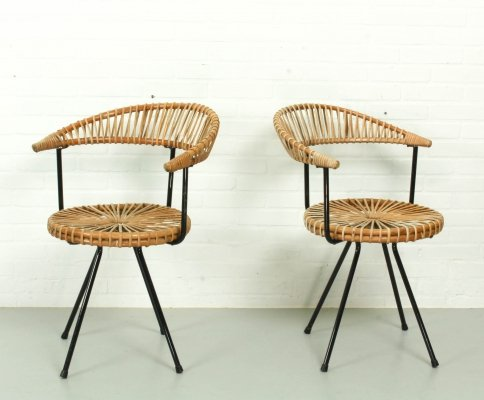 Set of 2 Rohe Noordwolde Dining chairs, 1960s