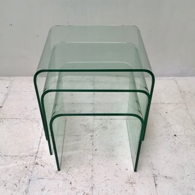 Set of 3 decorative glass nesting tables by Fiam