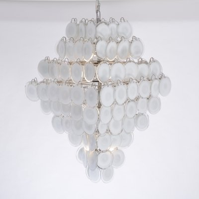 Huge Italian chandelier with white Murano glass discs