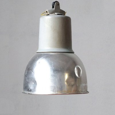Industrial factory style aluminium & steel pendant light, 1970s