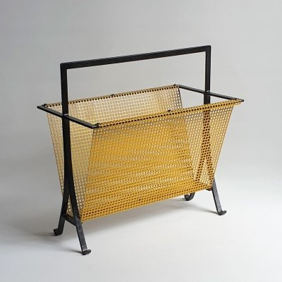 Vintage perforated metal magazine holder, 1960s