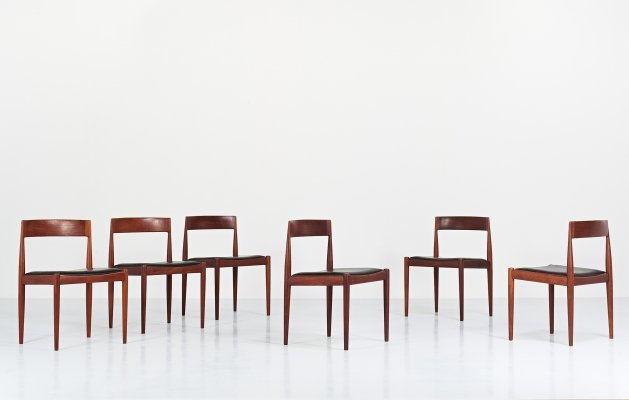 Set of six '4110' chairs by Kai Kristiansen for Fritz Hansen, Denmark 1960s