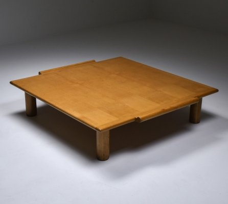 Italian square coffee table in oak, 1970
