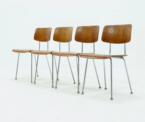 Set of 4 Gispen 1263 Teak Dining Chairs by A.R. Cordemeijer, 1960s