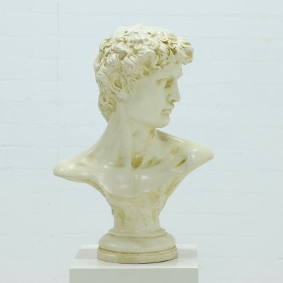 Large Decorative Plaster Bust from Michelangelo's David, 1980s