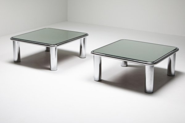 Pair of Mirrored Coffee Tables by Gianfranco Frattini for Cassina, 1960's