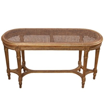 Small French Early 20th Century Cane & Giltwood Bench
