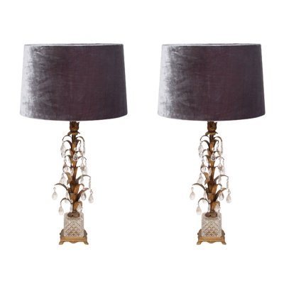 Pair of Italian 1960s Crystal & Tole Metal Table Lamps
