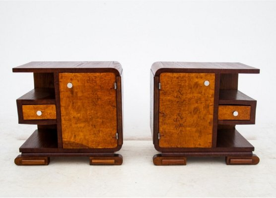 Pair of Art Deco bedside tables, Poland 1940s