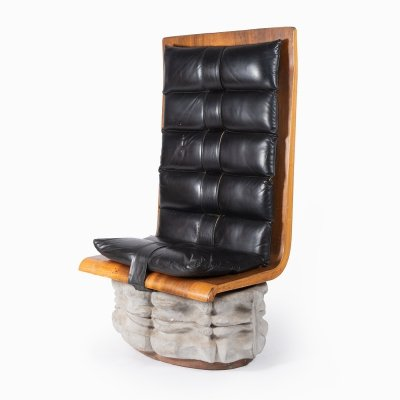 Unique chair in concrete, leather & wood, 1970s