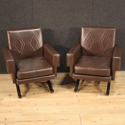 Pair of 20th Century Faux Leather Italian Design Armchairs, 1970