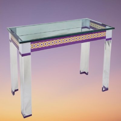 Vintage decorative glass topped console table, 1980s