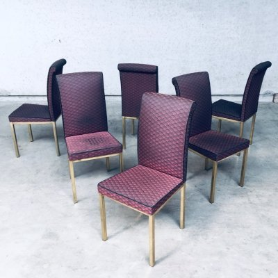 Set of 6 Hollywood Regency Style Design Dining Chair, Belgium 1970s