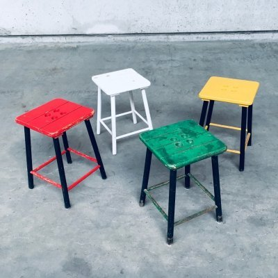Midcentury Design set of 4 Colorful Stools by Bois Manu, Belgium 1950's