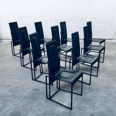 Postmodern Architectural Design set of 10 Dining Chairs, Italy 1980's
