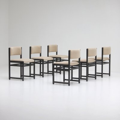 Six black stained oak chairs, 1970s