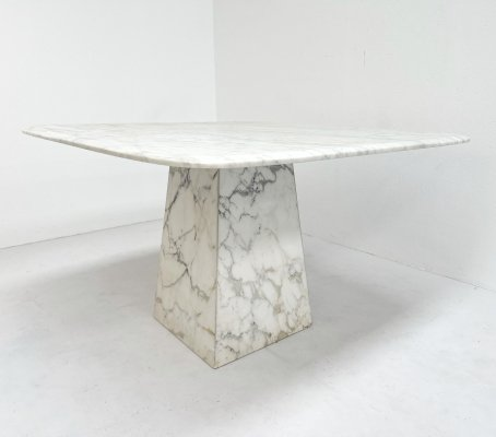 White marble dining table, 1980s