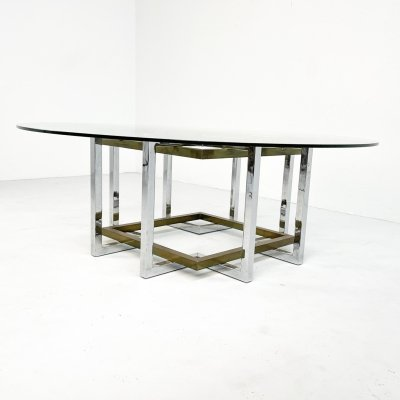 Geometric brass & chrome coffee table, 1980s