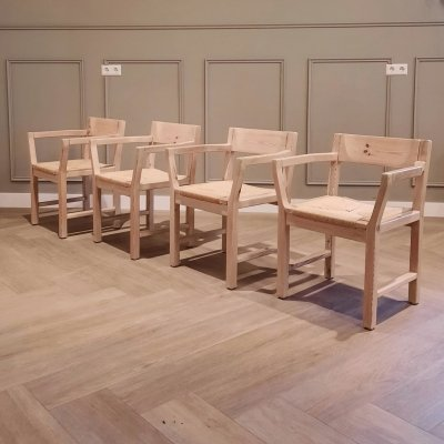 Set of 4 Dining Chairs with Paper Cord Seats by Tage Poulsen for Gramrode, 1970s