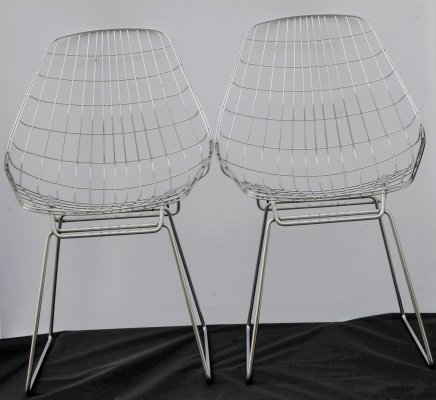 UMS Pastoe FM05 wire chairs by Cees Braakman, 60's