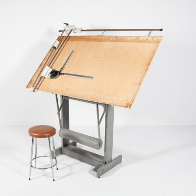 Architectural drafting table/drawing table with stool, Italy 1950s