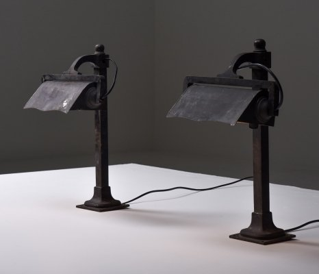 Cast iron pre-war industrial desk lamps, 1900s