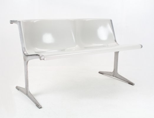 Friso Kramer bench 1200 serie in grey fibreglass & aluminium for Wilkhahn, 1972