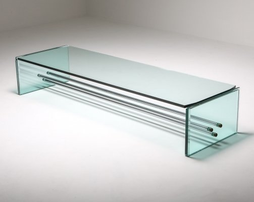Fontana Arte Large Glass Coffee Table, 1970's