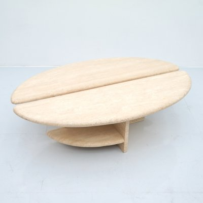 Pair of Twin Travertine Oval Coffee or Side Tables, Italy 1970s