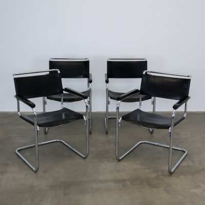 Set of 4 Thonet S34 chairs black leather, 1980s