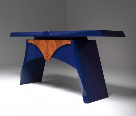 Blue lacquered console table by Koenraad De Wulf, 1980's