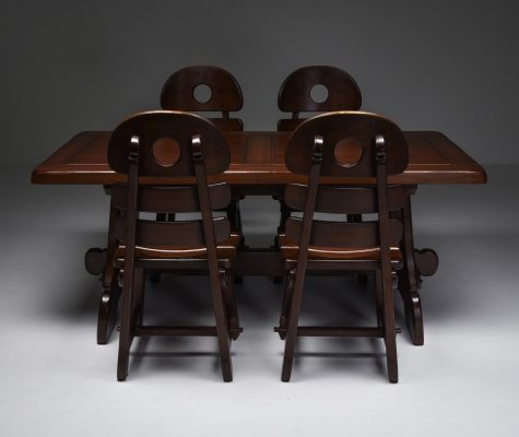 Brutalist Rustic Modern Dining set in Stained Oak, 1970's