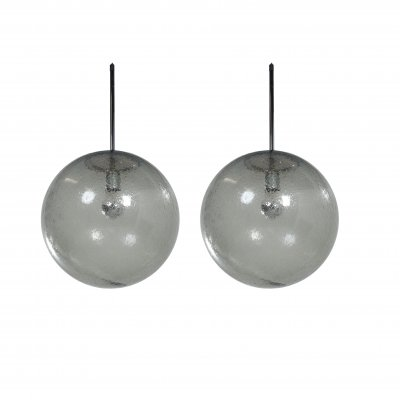 Pair of Hanging Lamps in Bubble Glass by Peill & Putzler, 1970s