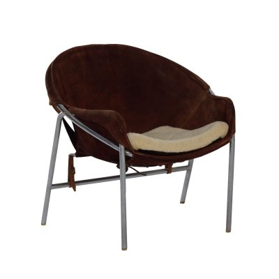 Brown suede Danish Sling Chair by Erik Jørgensen for Bovirke, 1953
