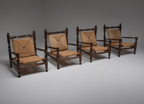 Rustic Modern French Rush Armchairs In Stained Wood, 1970s