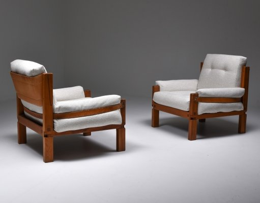 Pierre Chapo S15 easy chairs in bouclé, 1964