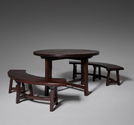 French Stained Ash Wooden table & Curved Benches, 1970s
