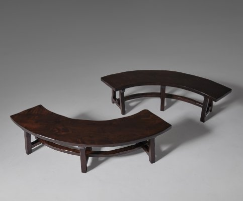 Pair of French Stained Ash Curved Wooden Benches, 1970s