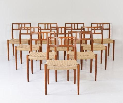 Large set of 10 Model No. 79 dining chairs by Niels O. Møller, Denmark 1966