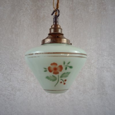 Pistachio-green painted glass pendant with chain suspension, Sweden 1930s