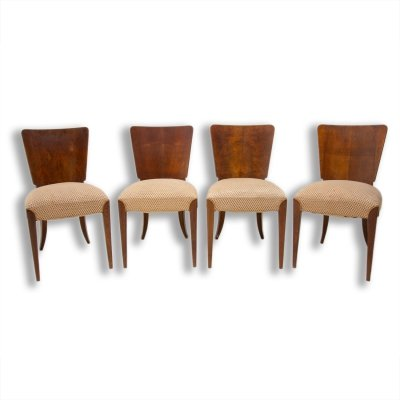 Set of 4 Art Deco dining chairs H-214 by Jindrich Halabala for ÚP Závody, 1950s