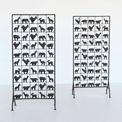 Atelier Marolles wrought iron animal screens, France 1950