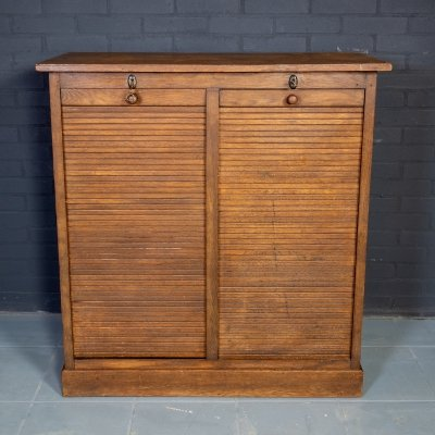 French vintage filing cabinet with two roller doors