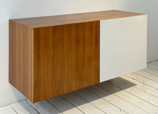 Wall hanging sideboard in walnut & white formica, 1960s