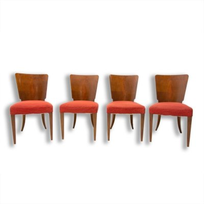 Set of 4 Art Deco H-214 dining chairs by Jindrich Halabala for ÚP Závody, 1950s