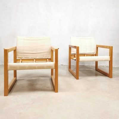 Pair of 'Diana' canvas safari chairs by Karin Mobring, 1970s