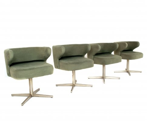 Set of 4 Gianni Moscatelli Swivel 'Poney' Chairs for Formanova, Italy 1970's