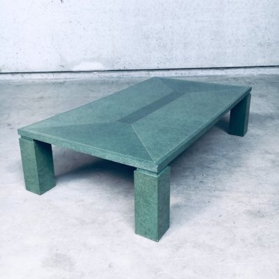 Postmodern Design Green Turtle Shell with brass inlay Coffee Table, Italy 1980's