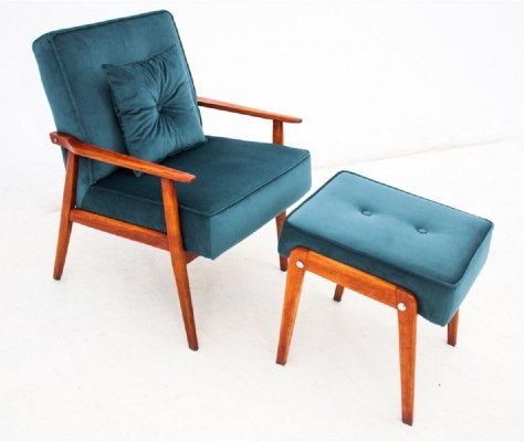 Armchair with footrest, Poland 1960s