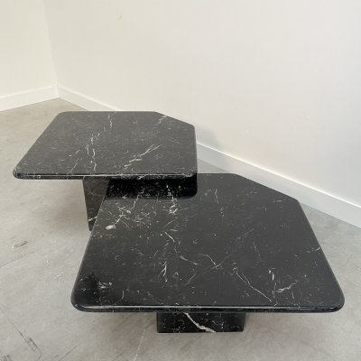 Pair of black marble side tables, 1970s